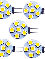 cheap -5pcs 2 W LED Bi-pin Lights 120 lm G4 6 LED Beads SMD 5050 Warm White White 9-30 V