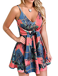 cheap -Women's Event / Party Daily Basic Swing Dress - Floral Black Blushing Pink Blue S M L XL