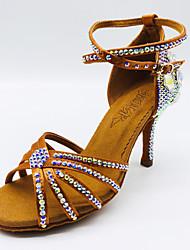 Недорогие -Жен. Танцевальная обувь Сатин Обувь для латины Кристаллы / Блеск / Crystal / Rhinestone На каблуках Тонкий высокий каблук Коричневый