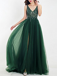cheap -A-Line V Neck Floor Length Tulle Empire / Green Wedding Guest / Prom Dress with Beading / Split / Appliques 2020