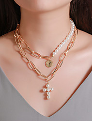 cheap -Women's Pendant Necklace Beaded Necklace Chrome Gold Silver 42 cm Necklace Jewelry For Daily Engagement Street Club Festival / Layered Necklace / Long Necklace