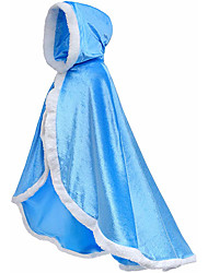 cheap -Princess Fairytale Elsa Cloak Girls' Movie Cosplay A-Line Slip Cover Up Purple Yellow Blue Dress Shawl Christmas Halloween Masquerade Flannelette