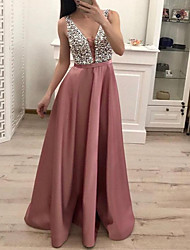 cheap -A-Line V Neck Floor Length Polyester Bridesmaid Dress with Appliques / Lace / Open Back