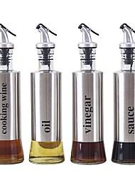 Недорогие -Из нержавеющей стали стеклянная бутылка масла кухня соевый соус бутылка нажав металлический уксус приготовления бутылки вина
