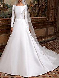 cheap -A-Line Wedding Dresses Bateau Neck Sweep / Brush Train Lace Charmeuse Long Sleeve Formal Simple Plus Size Elegant with Lace Draping 2020