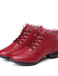 cheap -Women's Dance Shoes Faux Leather Dance Sneakers Stitching Lace Sneaker Thick Heel Customizable Black / White / Red