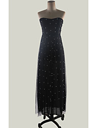 cheap -Women's Maxi Black Dress Elegant Swing Polka Dot Strapless Print S M