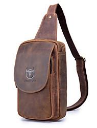cheap -Men's Sequin Cowhide Sling Shoulder Bag Solid Color Brown