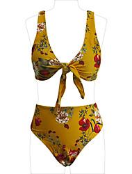 cheap -Women's Yellow Triangle Cheeky Bikini Swimwear Swimsuit - Floral Racerback Bow Print L XL XXL Yellow