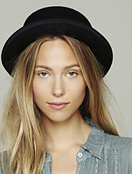 cheap -Women's Basic Cute Wool Cotton Fedora Hat-Solid Colored All Seasons Black