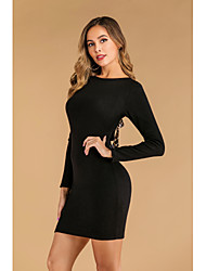 cheap -Women's Party Street chic Elegant Shift Dress - Solid Colored Backless Bow Black S M L XL