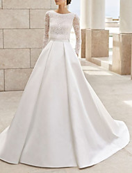 cheap -A-Line Wedding Dresses Jewel Neck Court Train Lace Satin Long Sleeve Simple Elegant with Lace Insert 2020