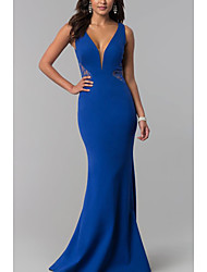 cheap -Sheath / Column Plunging Neck Sweep / Brush Train Jersey Elegant Formal Evening Dress with Lace Insert 2020