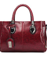 cheap -Women's Polyester / PU Tote Leather Bags Solid Color Wine / Black / Blue / Fall & Winter