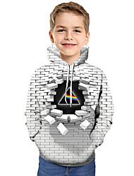 abordables -Enfants Bébé Garçon Actif Basique Géométrique Bloc de Couleur 3D Imprimé Manches Longues Pull à capuche & Sweatshirt Blanche