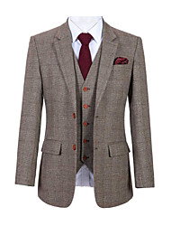 cheap -Brown Glen plaid tweed wool custom suit