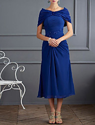 cheap -A-Line Mother of the Bride Dress Plus Size Bateau Neck Tea Length Chiffon Short Sleeve with Beading Ruching 2020