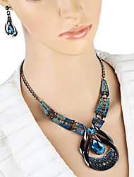 cheap -Women's Drop Earrings Choker Necklace Pendant Necklace 3D Unique Design Vintage Earrings Jewelry Blue For Holiday 1 set
