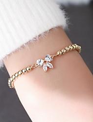 cheap -Women's Bead Bracelet Bracelet Beads Bowknot Casual / Sporty Sweet Elegant Copper Bracelet Jewelry White / Gold For Gift Daily School Street Work