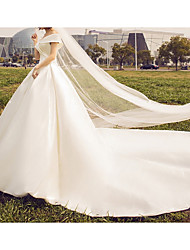 cheap -A-Line V Neck Sweep / Brush Train Stretch Satin Regular Straps Wedding Dresses with Draping 2020