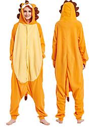 cheap -Adults' Kigurumi Pajamas Lion Animal Onesie Pajamas Coral fleece Orange Cosplay For Men and Women Animal Sleepwear Cartoon Festival / Holiday Costumes