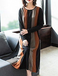 cheap -Women's Daily Wear A Line Dress - Color Block Black M L XL XXL