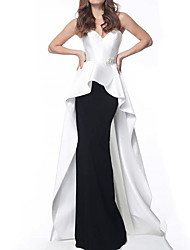 cheap -A-Line Strapless Sweep / Brush Train Stretch Satin Color Block Formal Evening Dress with Beading / Sequin 2020