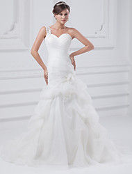cheap -A-Line Wedding Dresses One Shoulder Court Train Organza Satin Spaghetti Strap with Pick Up Skirt Ruched Appliques 2020