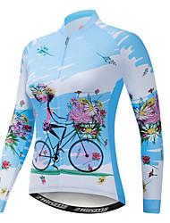 abordables -21Grams Floral Botanique Femme Manches Longues Maillot Velo Cyclisme - Bleu Vélo Maillot Hauts / Top Résistant aux UV Respirable Evacuation de l'humidité Des sports Hiver Toison Polyester Elasthanne