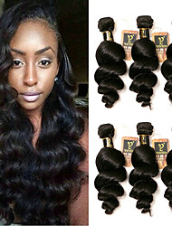 Недорогие -6 Связок Бразильские волосы Свободные волны Не подвергавшиеся окрашиванию 300 g Человека ткет Волосы Ткет человеческих волос Расширения человеческих волос / 10A