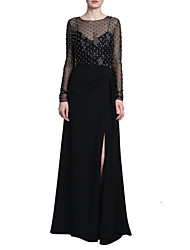 cheap -Sheath / Column Jewel Neck Floor Length Tulle / Stretch Satin Long Sleeve Elegant & Luxurious Mother of the Bride Dress with Embroidery / Split Front 2020