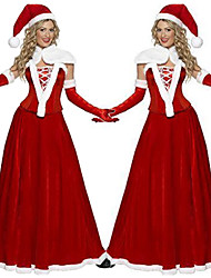 cheap -Mrs.Claus Dress Women's Adults' Costume Party Christmas Christmas Velvet Dress / Gloves / Hat / Gloves