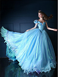 cheap -Princess Cinderella Bride Dress Cosplay Costume Women's Movie Cosplay Vacation Dress Blue Dress Christmas Halloween New Year Organza Satin