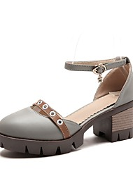 cheap -Women's Heels Chunky Heel Round Toe Rivet / Buckle PU Spring & Summer Black / Beige / Gray / Color Block
