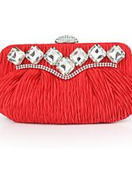 cheap -Women's Rivet / Crystals Silk Evening Bag Solid Color Black / Blue / Red