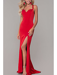 cheap -Sheath / Column Sweetheart Neckline Sweep / Brush Train Jersey Elegant Formal Evening Dress with Split Front 2020