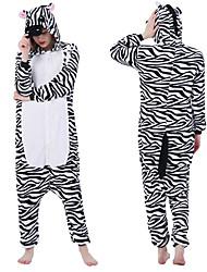 cheap -Adults' Kigurumi Pajamas Zebra Animal Onesie Pajamas Polar Fleece Black / White Cosplay For Men and Women Animal Sleepwear Cartoon Festival / Holiday Costumes