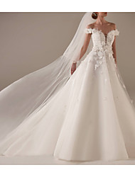 cheap -A-Line V Neck Sweep / Brush Train Lace / Tulle Short Sleeve Wedding Dresses with Draping / Appliques 2020