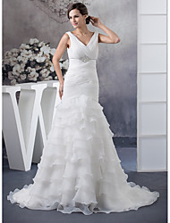 cheap -Mermaid / Trumpet V Neck Chapel Train Organza Regular Straps Wedding Dresses with Ruched / Beading / Cascading Ruffles 2020