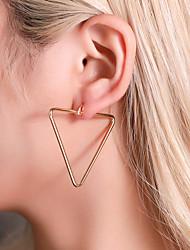 cheap -Women's Ear Piercing Drop Earrings Hoop Earrings Geometrical Believe Lucky Stainless Steel Earrings Jewelry Gold / White / Gold For Anniversary Carnival Street Club Bar / Clip on Earring