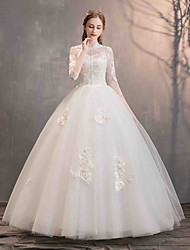 cheap -Ball Gown High Neck Floor Length Lace / Tulle 3/4 Length Sleeve Made-To-Measure Wedding Dresses with Beading / Appliques 2020