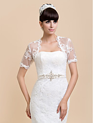 cheap -Short Sleeve Shrugs Lace Wedding / Party Evening / Casual Wedding  Wraps With
