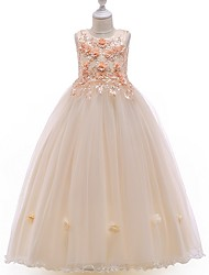 cheap -A-Line Floor Length Flower Girl Dress - Tulle Sleeveless Jewel Neck with Beading / Appliques / Bow(s)
