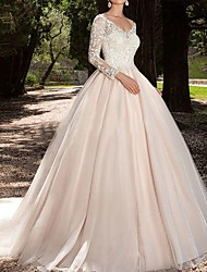 cheap -A-Line V Neck Sweep / Brush Train Lace 3/4 Length Sleeve Made-To-Measure Wedding Dresses with Lace Insert 2020