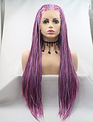 cheap -Synthetic Lace Front Wig Plaited Braid Lace Front Wig Medium Length Dark Purple Synthetic Hair 26 inch Women's Women Faux Locs Wig Purple Sylvia