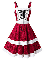 cheap -Women's Date Holiday Street chic Elegant Swing Dress - Color Block Ruffle Black Blue Red L XL XXL XXXL