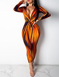 cheap -Women's Sheath Dress - Geometric Orange S M L XL