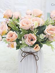 Недорогие -искусственная роза букет симуляция богатая роза домой свадебные украшения с цветами в руках