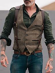 cheap -Men's Vest, Solid Colored V Neck Polyester Brown