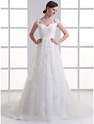 cheap -A-Line Wedding Dresses Sweetheart Neckline Court Train Lace Satin Tulle Cap Sleeve with Beading Appliques 2020